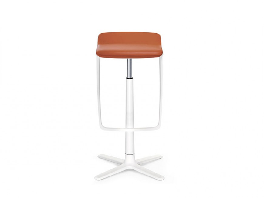 Tabouret assis-debout avec repose-pieds KINETIC, structure alu blanc