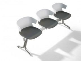 Assise sur poutre 3 places COVE piétement en aluminium vernis